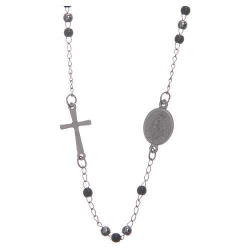 Rosary choker silver and black 316L steel 2