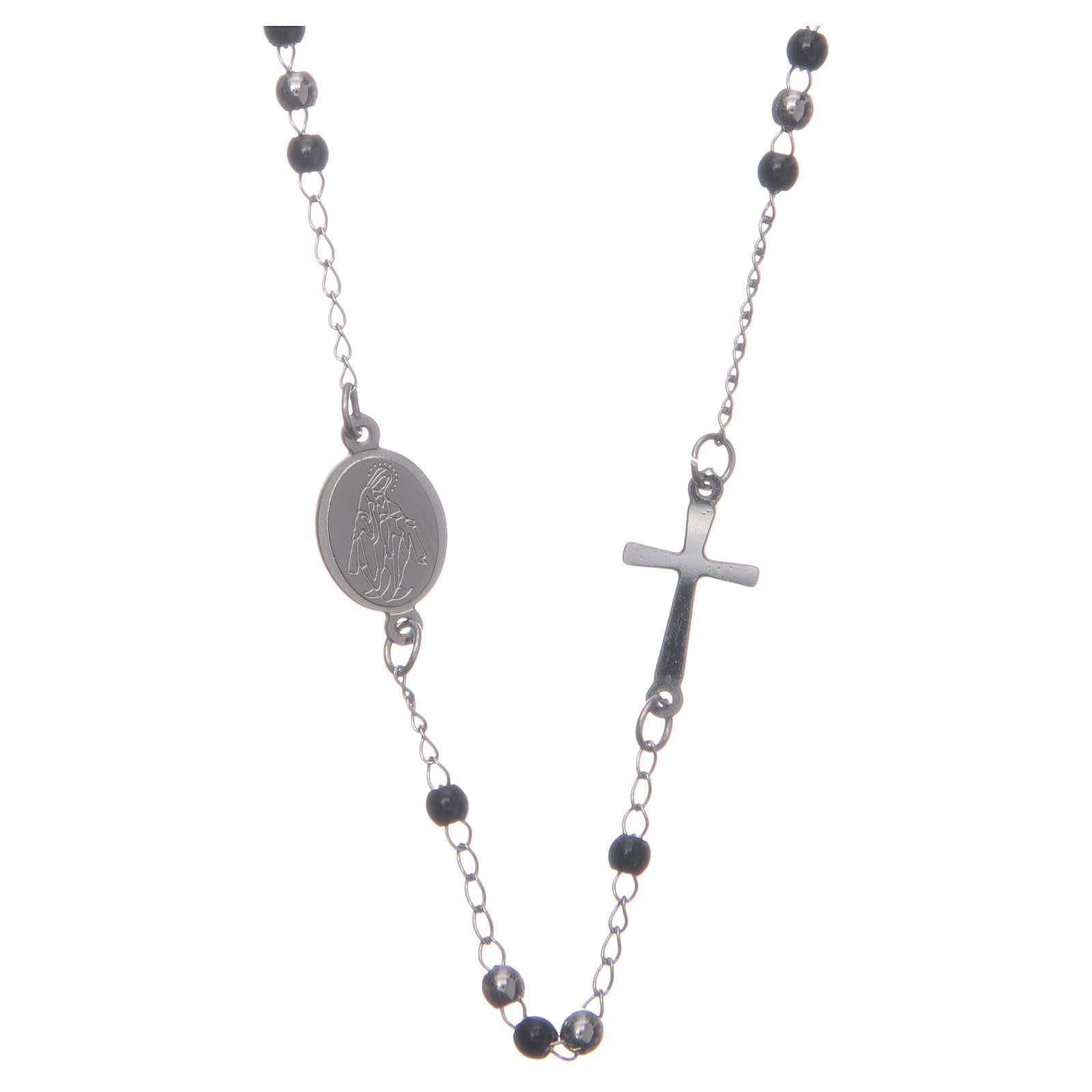 Rosario collar cuello redondo color silver y negro de acero 316L 4