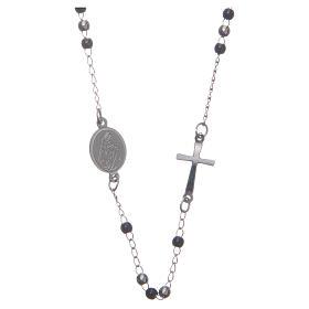 Rosario collar cuello redondo color silver y negro de acero 316L s1