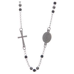 Rosario collar cuello redondo color silver y negro de acero 316L s2