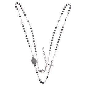 Rosario collar cuello redondo color silver y negro de acero 316L s3