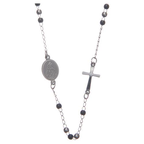 Rosario collar cuello redondo color silver y negro de acero 316L 1