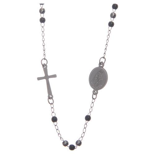 Rosario collar cuello redondo color silver y negro de acero 316L 2