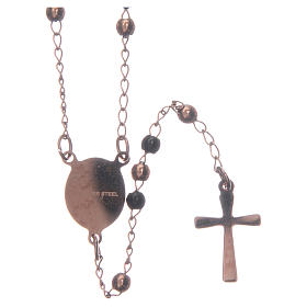 Classic rosary rosè and black 316L steel s2