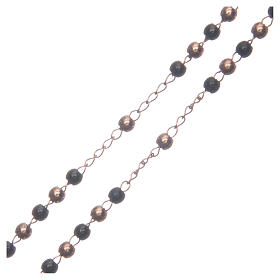 Classic rosary rosè and black 316L steel s3