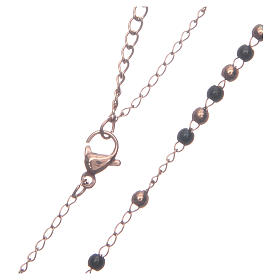 Classic rosary rosè and black 316L steel s4