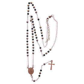 Classic rosary rosè and black 316L steel s5