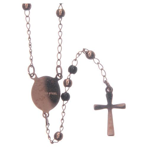 Classic rosary rosè and black 316L steel 2