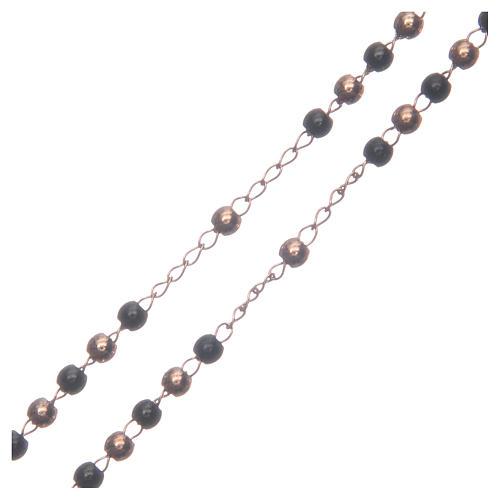 Classic rosary rosè and black 316L steel 3