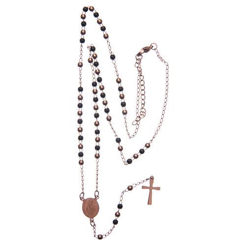 Classic rosary rosè and black 316L steel 5