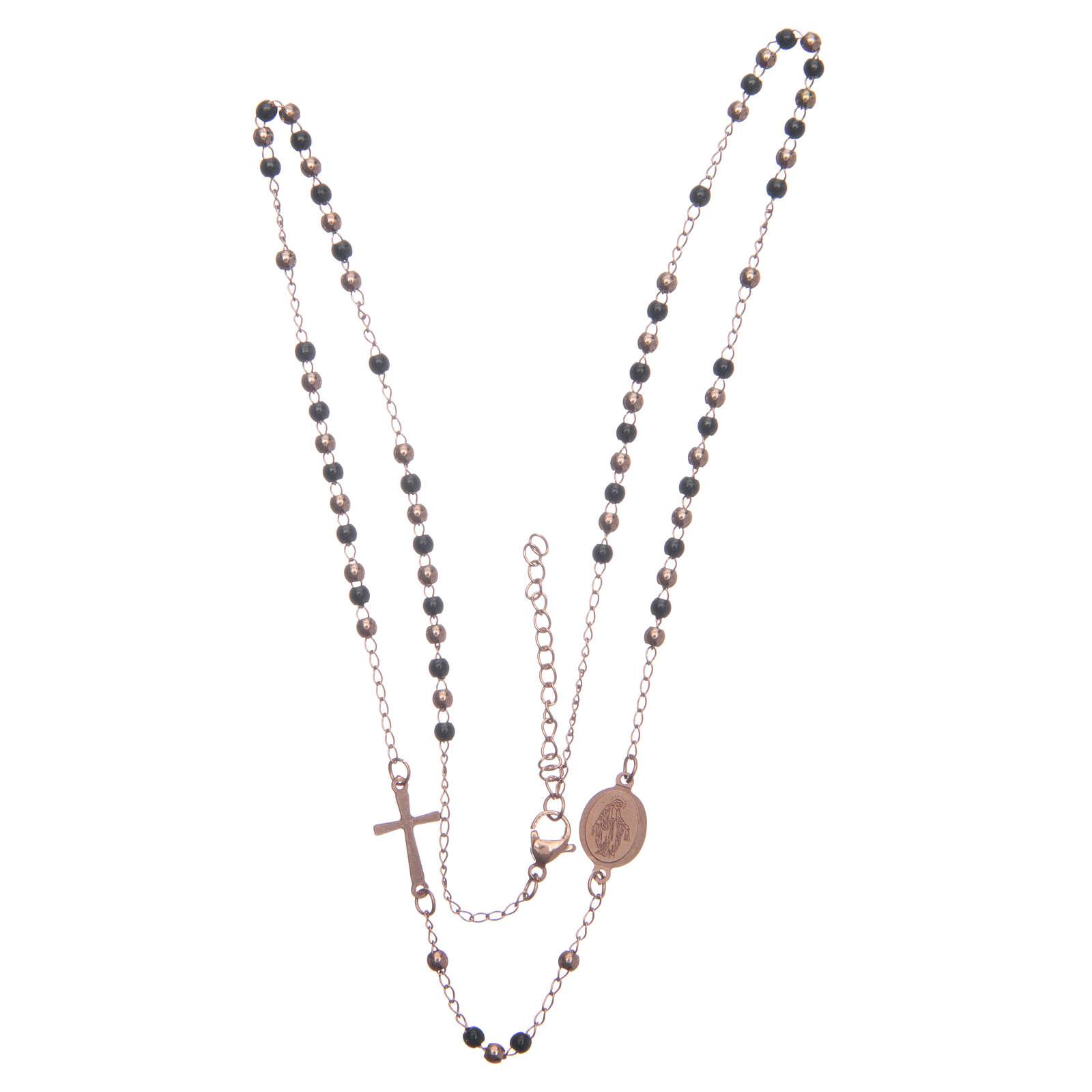 Rosary choker rosè and black 316L steel 4
