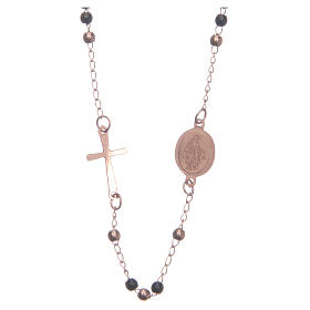Rosary choker rosè and black 316L steel s2