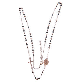 Rosary choker rosè and black 316L steel s3