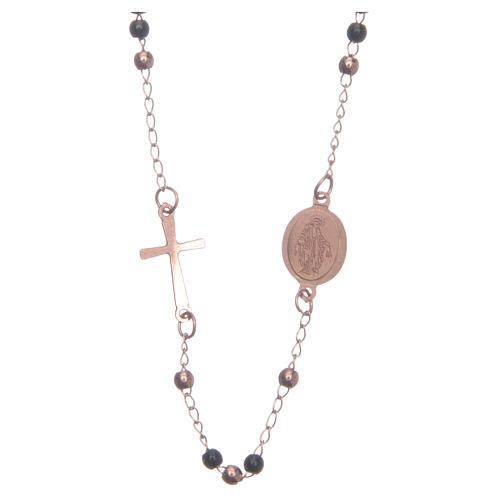 Rosary choker rosè and black 316L steel 2