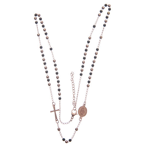 Rosary choker rosè and black 316L steel 3