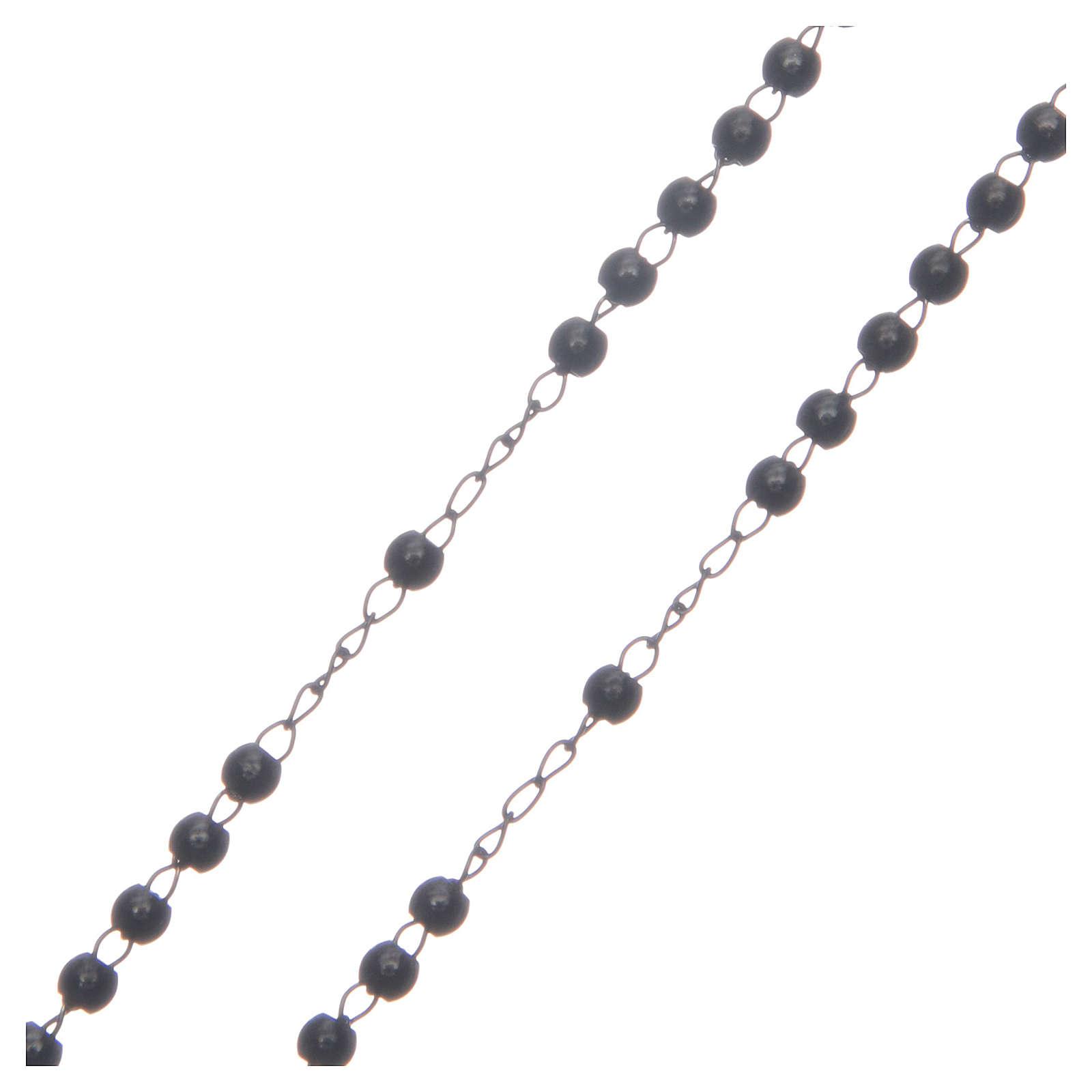 Rosario classico nero acciaio 316L 4