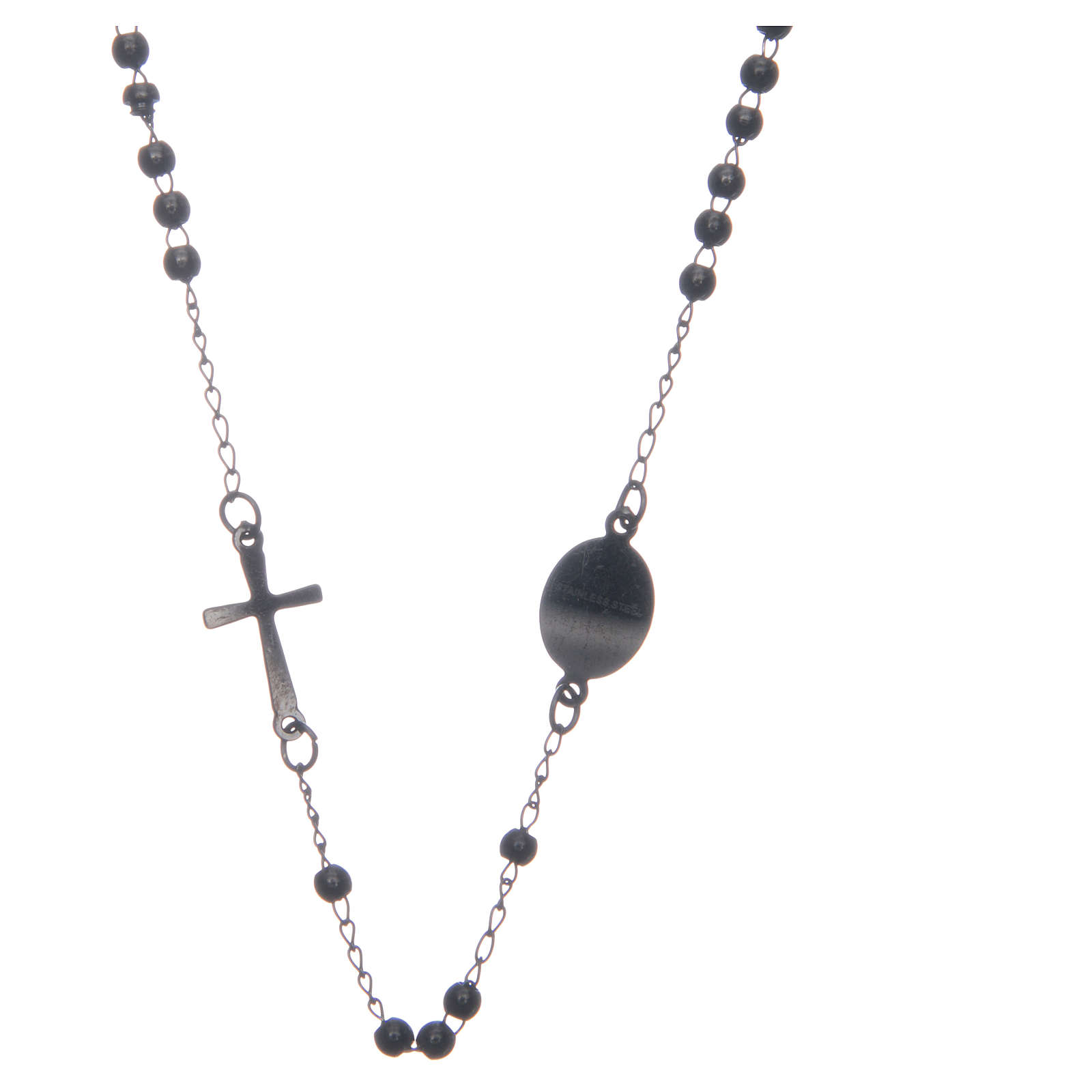 Rosario collar cuello redondo color negro de acero 316L 4