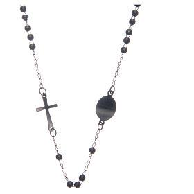 Rosario collar cuello redondo color negro de acero 316L s2