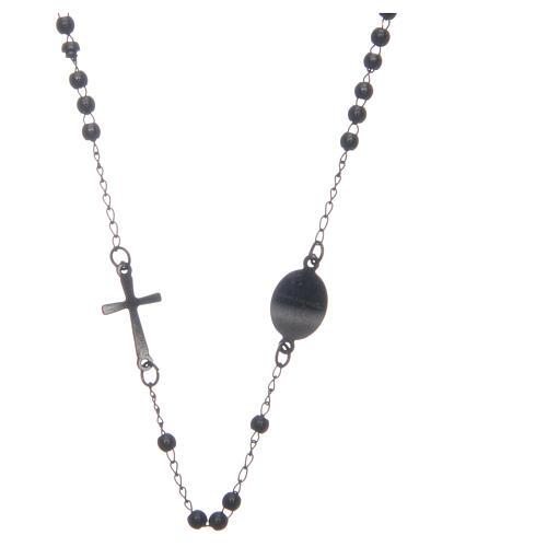 Rosario collar cuello redondo color negro de acero 316L 2