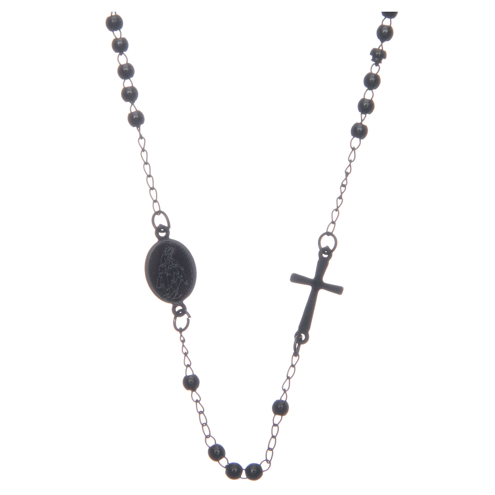 Rosary choker black in 316L steel 4