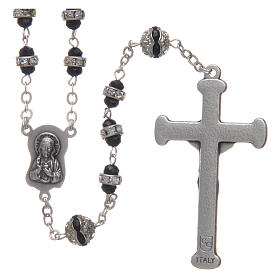 Rosary in oxidised metal black with strass s2
