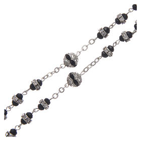 Rosary in oxidised metal black with strass s3