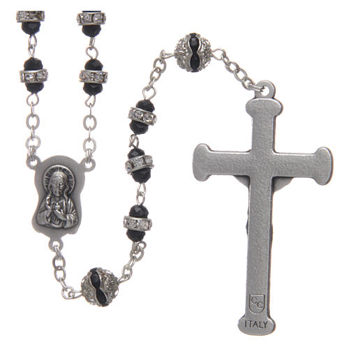 Rosary in oxidised metal black with strass 2
