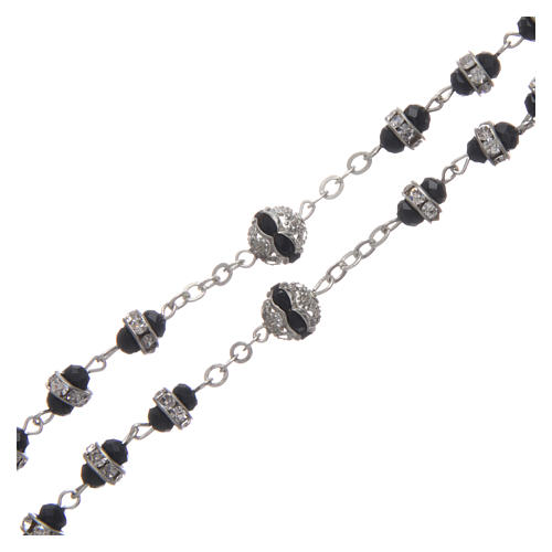 Rosary in oxidised metal black with strass 3
