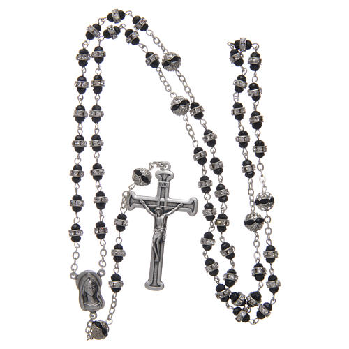 Rosary in oxidised metal black with strass 4