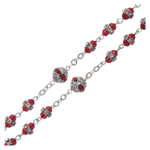Chapelet rubis en strass et métal oxydé 3