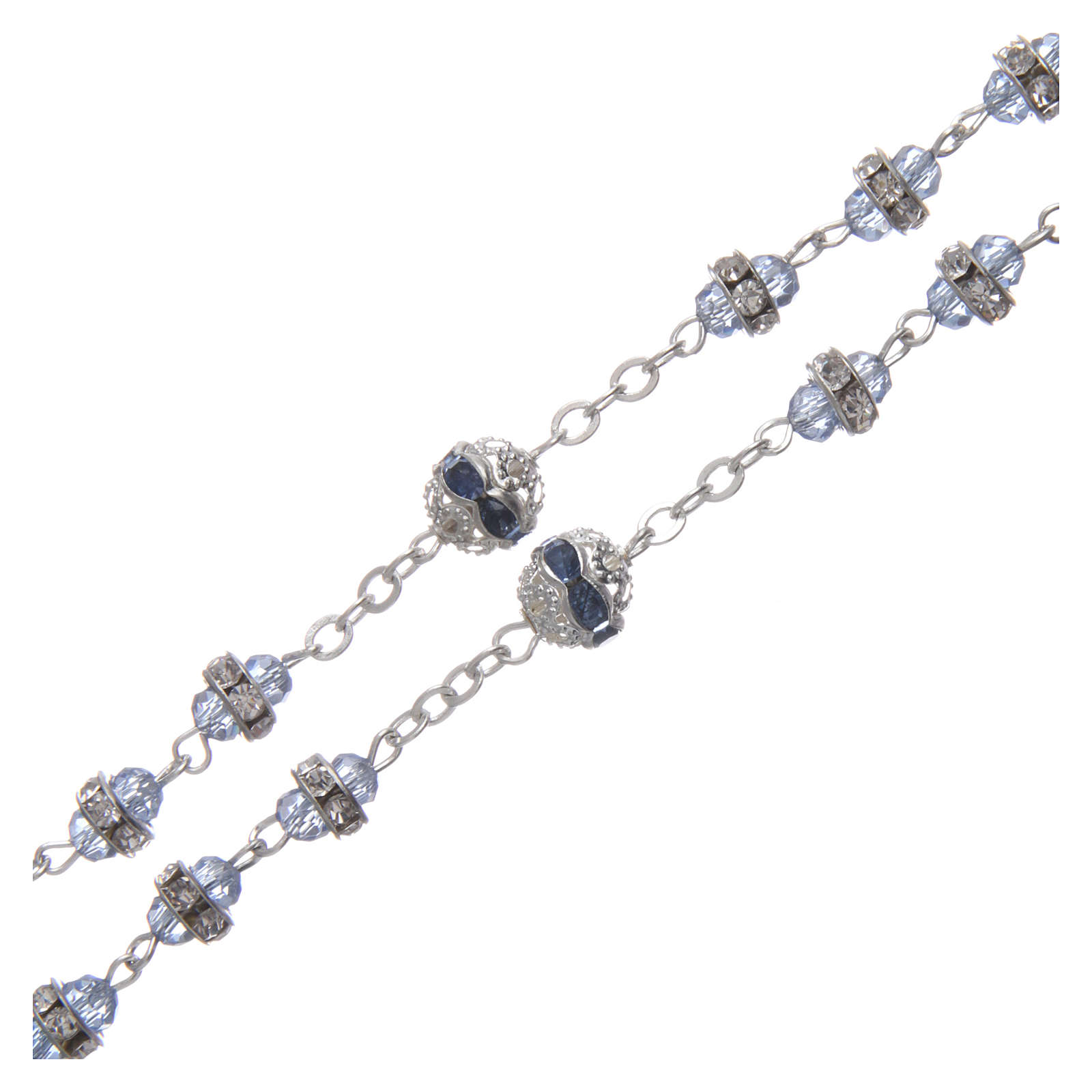 Rosary in oxidised metal sapphire pearl with strass 4