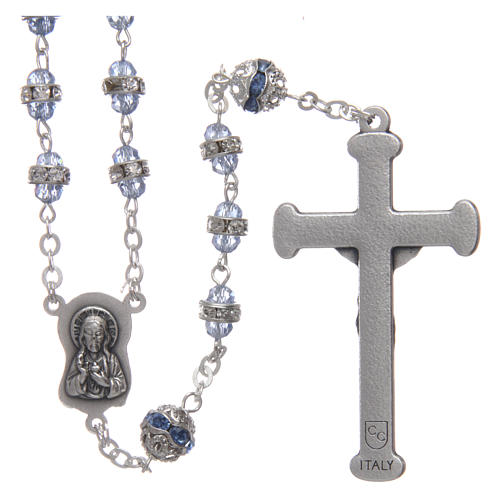 Rosary in oxidised metal sapphire pearl with strass 2
