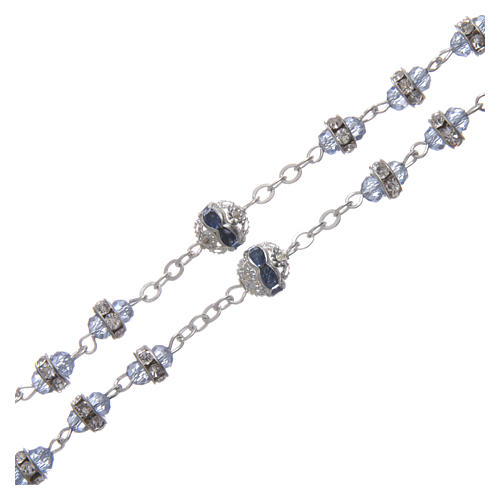 Rosary in oxidised metal sapphire pearl with strass 3
