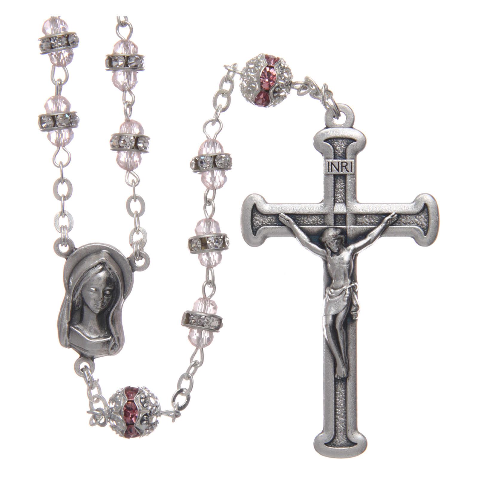 Rosario rosa in strass e metallo ossidato 4
