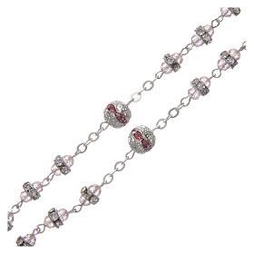 Rosario rosa in strass e metallo ossidato s3