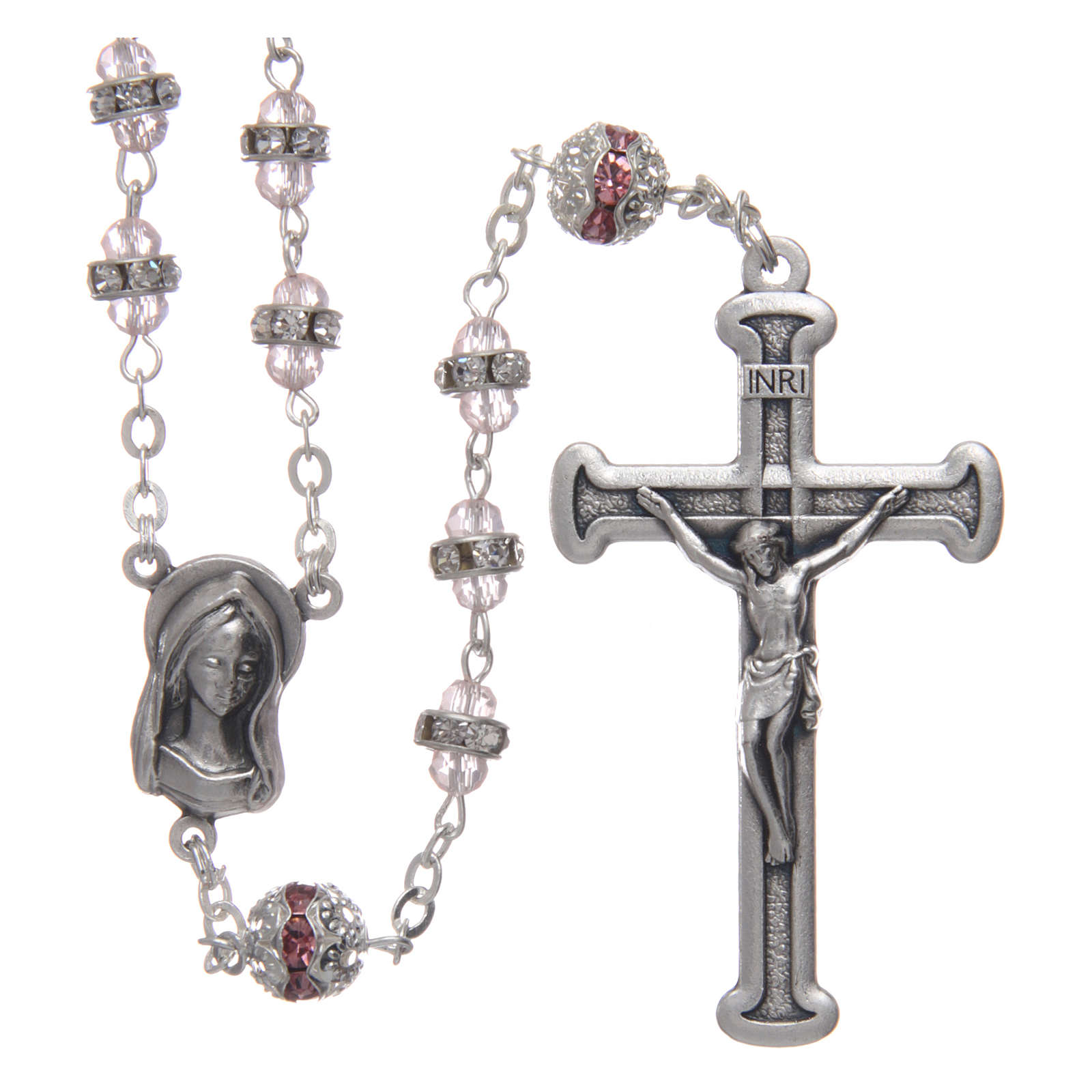 Rosary in oxidised metal pink pearl with strass 4