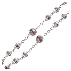 Rosary in oxidised metal pink pearl with strass s3