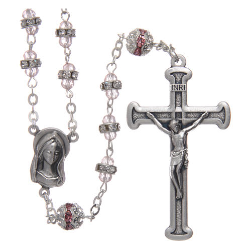 Rosary in oxidised metal pink pearl with strass 1