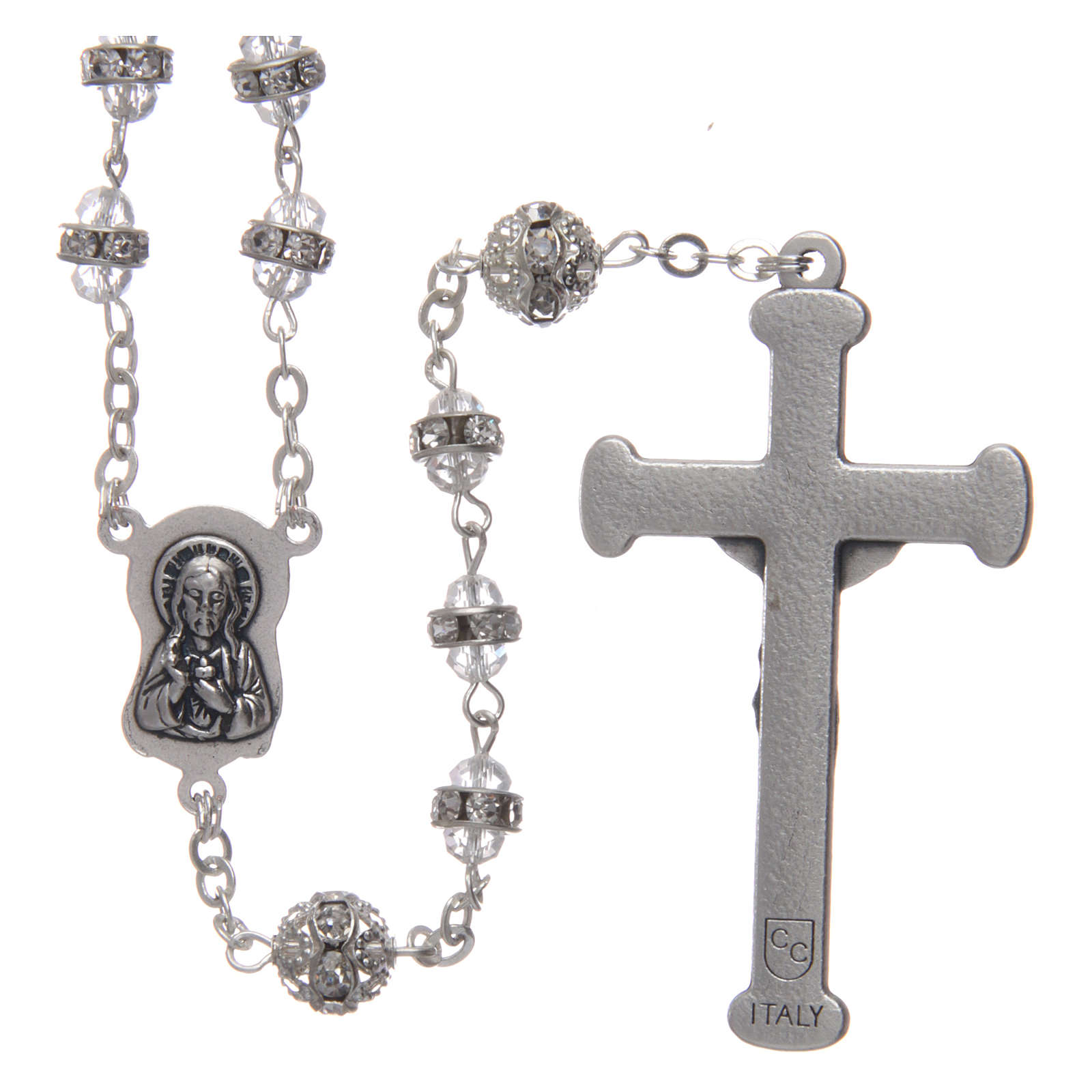 Crystal rosary in strass and steel 4
