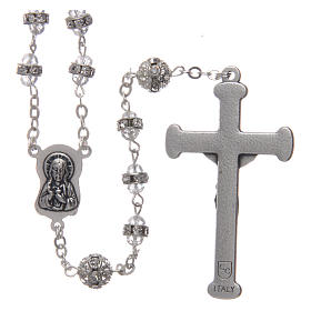 Crystal rosary in strass and steel s2