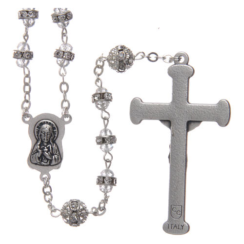 Crystal rosary in strass and steel 2