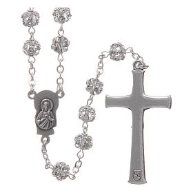 Silver rosary with strass grains and crystal 6 mm s2