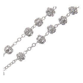 Silver rosary with strass grains and crystal 6 mm s3