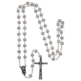 Silver rosary with strass grains and crystal 6 mm s4