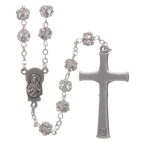 Silver rosary with strass grains and crystal 6 mm 2