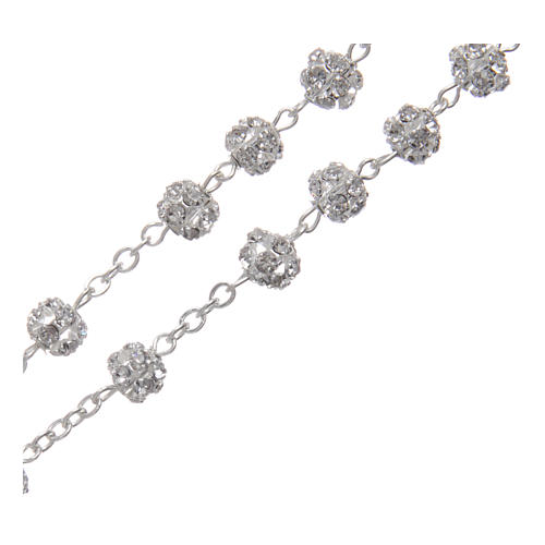 Silver rosary with strass grains and crystal 6 mm 3
