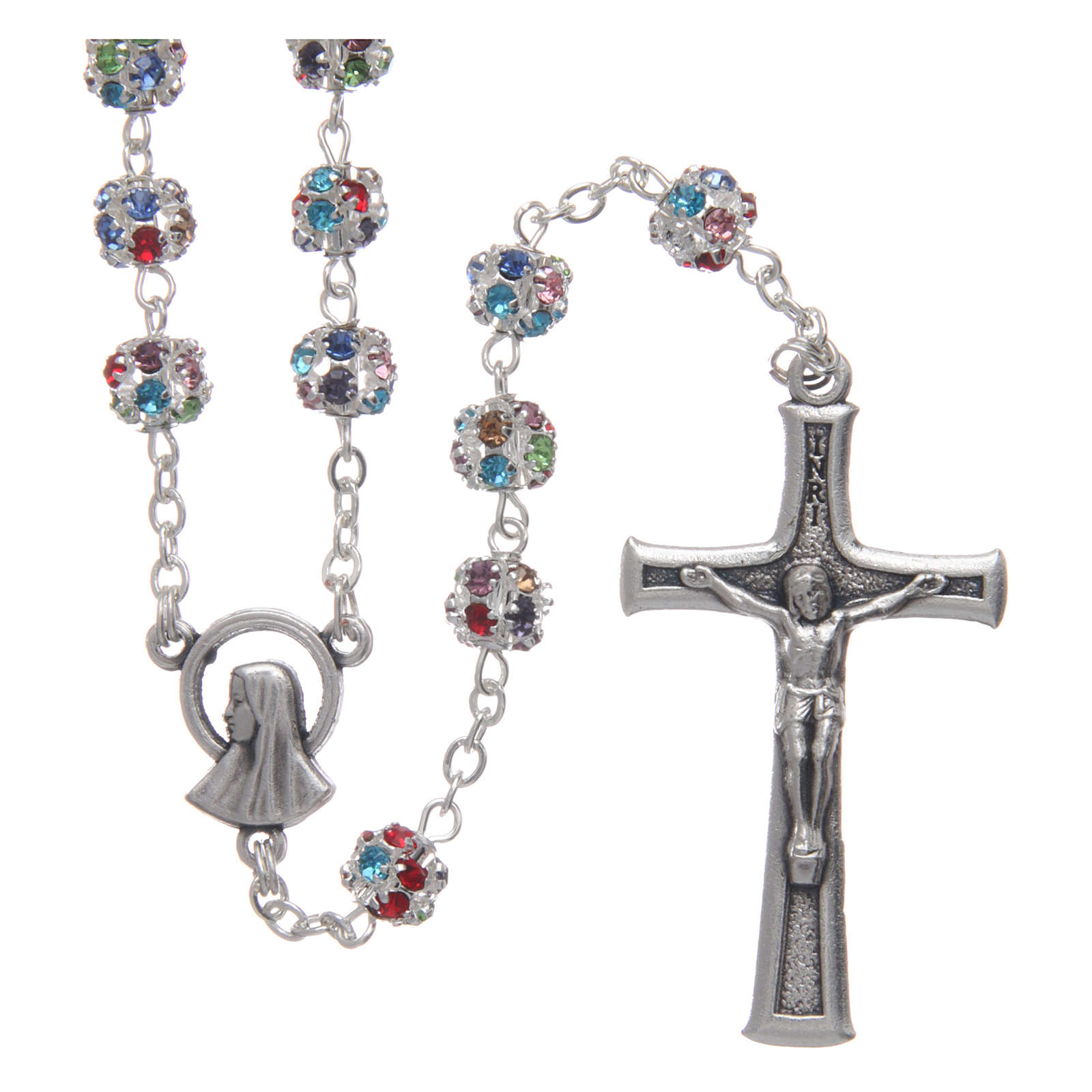 Silver rosary with strass grains multicoloured 6 mm 4