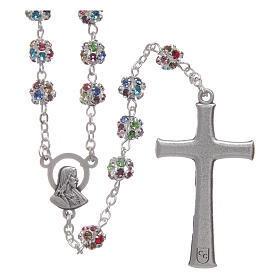 Silver rosary with strass grains multicoloured 6 mm s2