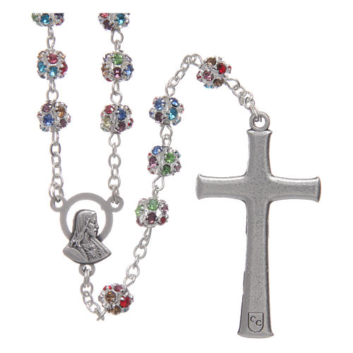 Silver rosary with strass grains multicoloured 6 mm 2