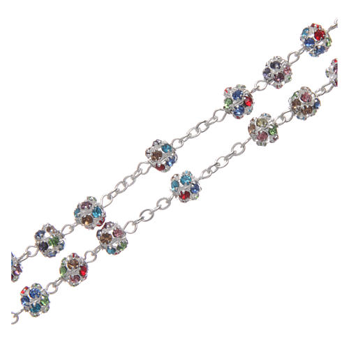 Silver rosary with strass grains multicoloured 6 mm 3